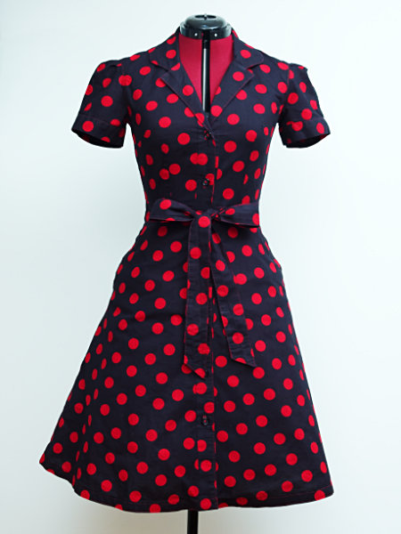 Black dress with red polka dots